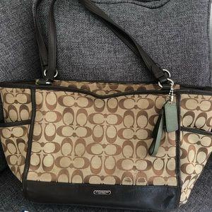 Coach Brown Leather Signature Print Handbag